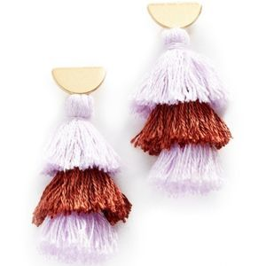 Madewell Purple Tiered Tassel Gold Earrings